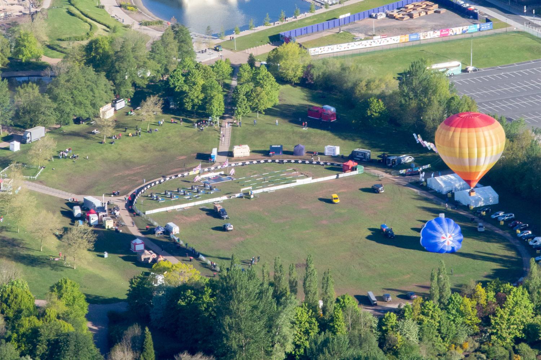 Image of two hot air balloons at Telford Balloon Fiesta.