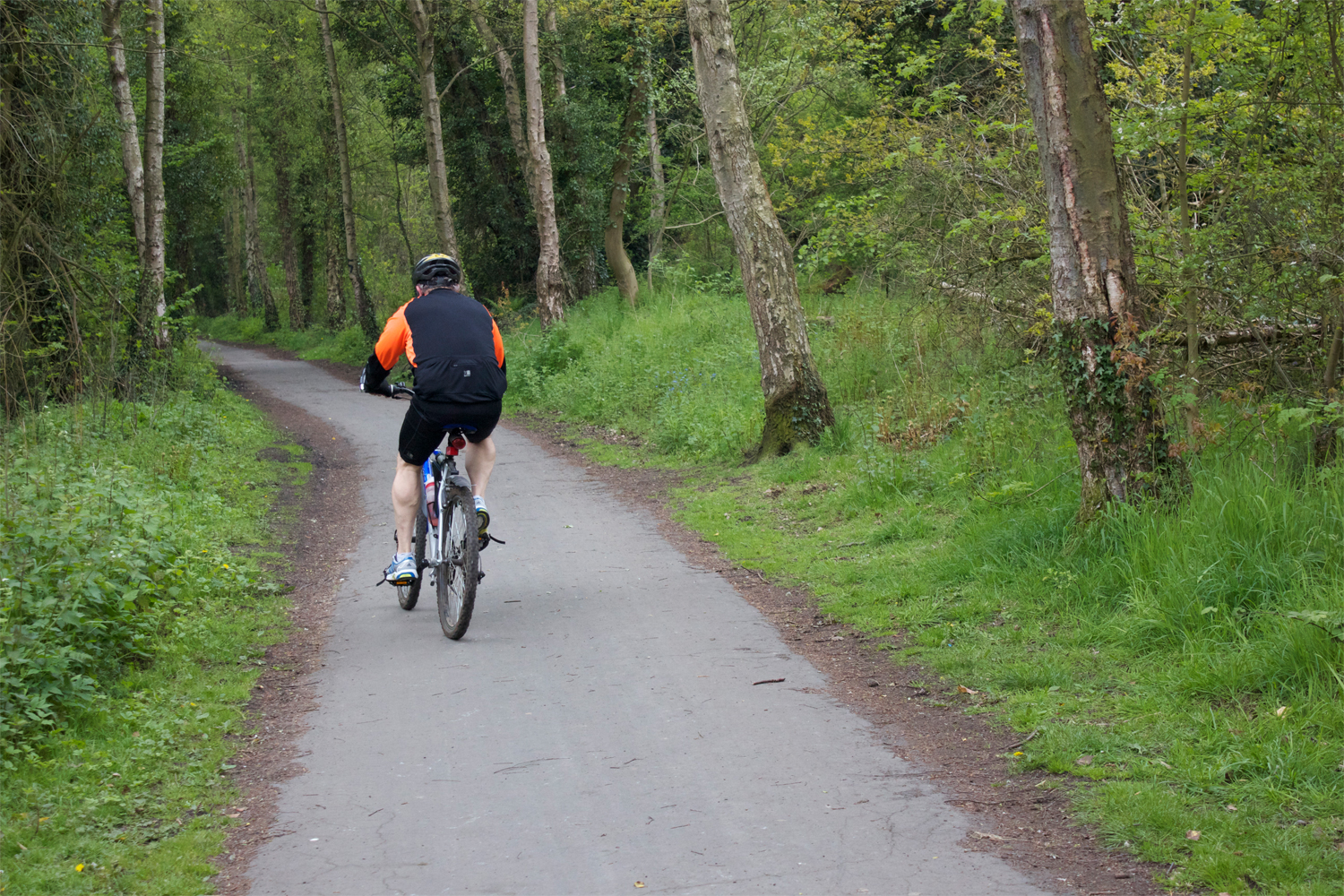 Image of a man on cycling on route 55