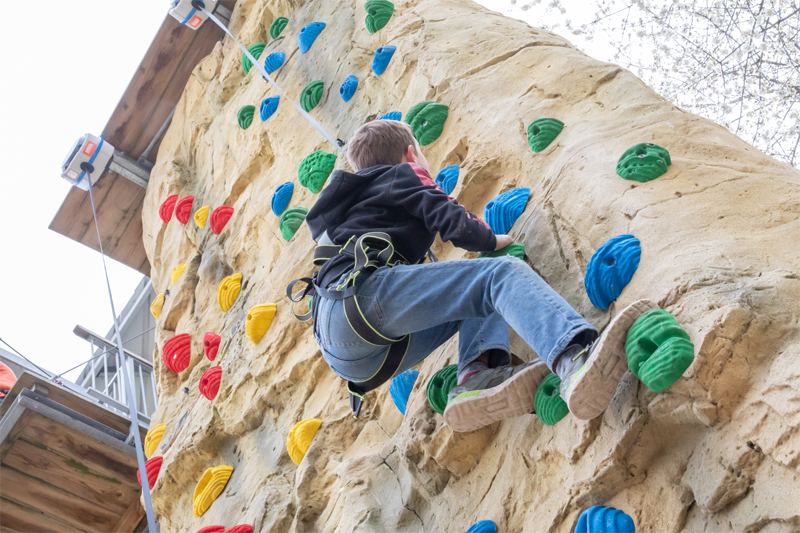 Image of a person on the climbing wall