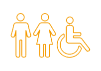 Image of a man, woman and wheel chair
